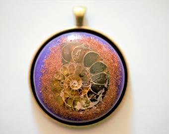 Ammonite Pendant with Goldstone