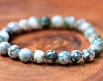 Tree Agate 100% Natural Stone Healing Stretch Bracelet ~ STRESS RELIEF