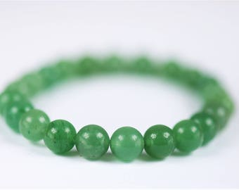 Green Aventurine 100% Natural Stone Healing Stretch Bracelet ~ PROSPERITY