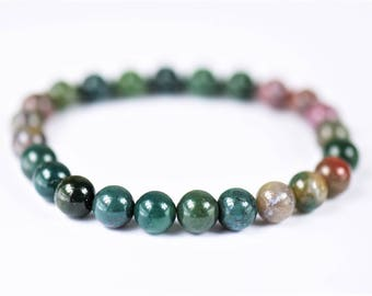 Indian Agate 100% Natural Stone Stretch Bracelet