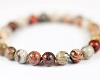 Crazy Lace Agate 100% Natural Stone  Healing Stretch Bracelet ~ HAPPINESS
