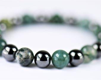 Moss Agate & Hematite 100% Natural Stone  Healing Stretch Bracelet ~ BALANCE/GROUNDING