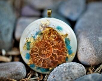 Ammonite Orgone Pendant/Orgone Jewelry: Quartz, Ammonite, Blue Apatite Crystals, 24K Gold, Glow in the Dark ( White)