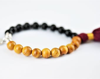 Black Tourmaline Mala Natural Stone Stretch Bracelet with Yoga Om Charm