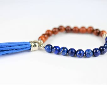 Lapis Lazuli Natural Stone Mala Stretch Bracelet ~ INTUITION