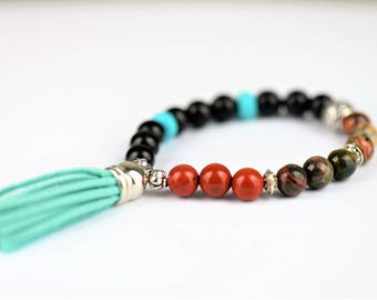 Jasper Natural Stone Mala Stretch Bracelet (Ocean Jasper, Red Jasper, Crazy Lace Agate) ~ COURAGE & WISDOM