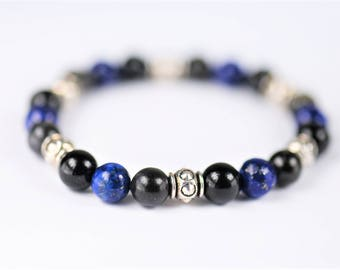 Arfvedsonite, Lapis Lazuli & Black Agate Natural Stone Stretch Healing Bracelet ~ PSYCHIC STIMULATOR