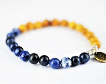 Sodalite Mala Natural Stone Stretch Bracelet with Lotus Flower Charm