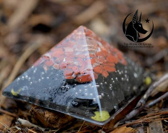 Orgone Pyramid/Orgone Generator - Quartz, Selenite, Copper, Red Jasper, Silver BB's, Black Agate