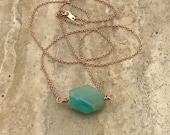 Blue Peruvian Opal Necklace in 10k or 14k Gold, White Gold and Rose Gold, Rough Gemstone Necklace, Natural Peruvian Opal Necklace