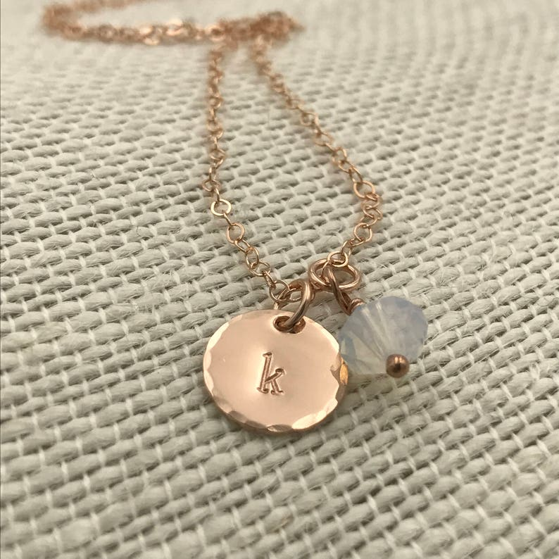 Tiny Initial and Birthstone Charm Necklace in Sterling Silver 14k Gold Filled or 14k Rose Gold Filled