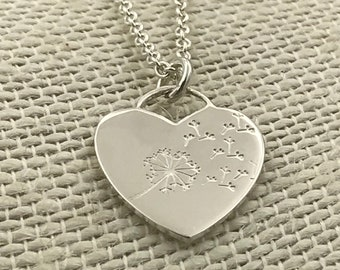Sterling Silver Heart Necklace with Handstamped Dandelion and Fluff on a Cable Chain; Dandelion Necklace