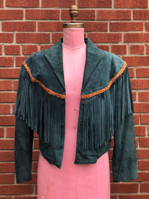 Women's Green Suede Cowgirl Jacket & Skirt