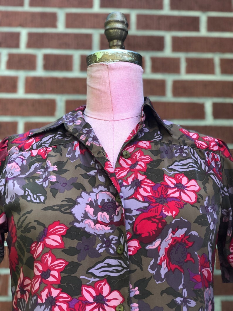 1970s Floral Polyester top