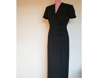 1990s Maggy London black button up dress