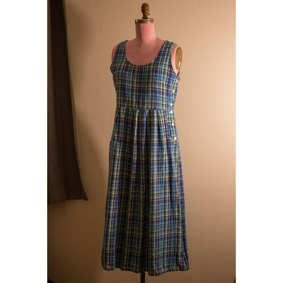 1970s Plaid Linen/Cotton Dress
