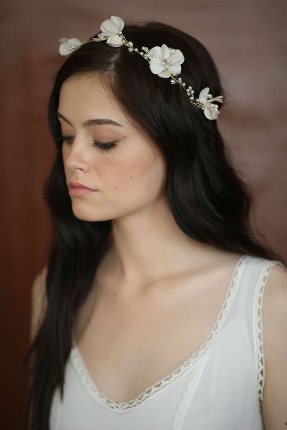 Silk Flower Bridal Headpiece Bridal Flower Headband Floral Etsy