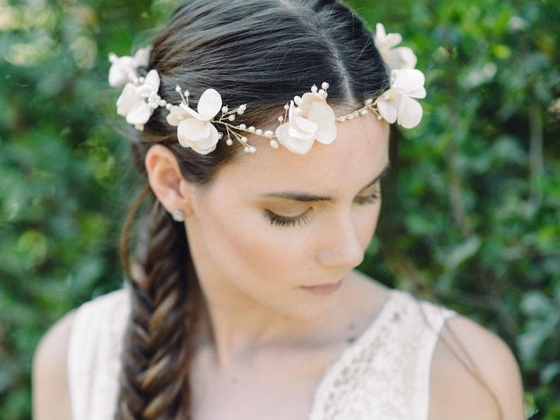 Sale on bridal hairpiece Bridal Flower Headband Silk Flower Pearls Halo Headpiece Boho Bridal Headpiece Ivory Delicate Flower Headpiece