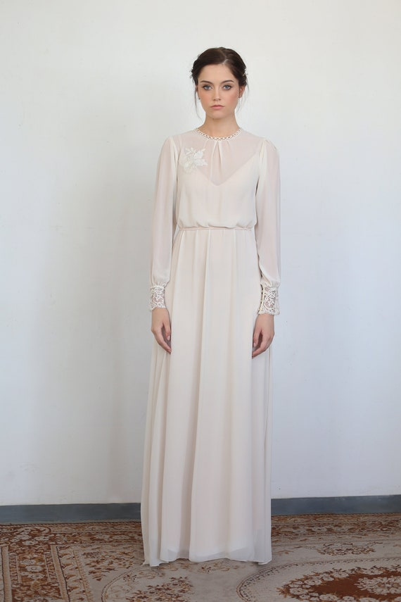 Vintage Wedding Dress With Long Sleeves Modest Wedding Dress Etsy