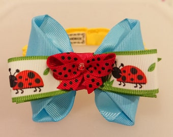 Spring Lady Bug Blue Bow Elastic Cat Collar,  Blue Bow Elastic Cat Accessories