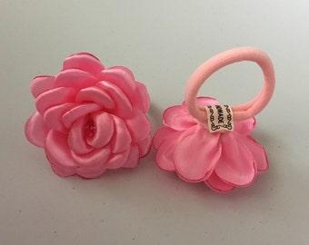 Pink Camellia Flower Hair Ties, Pink Camellia Elastic Flower Hair Scrunchie, Kanzashi Camellia Flower Scrunchie