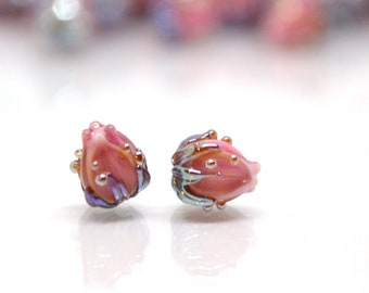 Blush pink flower beads, 7mm glass beads, Tiny flower beads,  Half drilled beads, Soft pink flower beads
