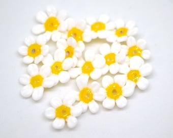 White Yellow Daisy Flower Focal Bead Handmade Glass Lampwork Bead by TH