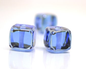 Sapphire blue square beads, 10mm cube beads, 12mm square beads, Blue cube beads, Blue spacer beads, Blue lampwork, Jewelry beads,Murano bead