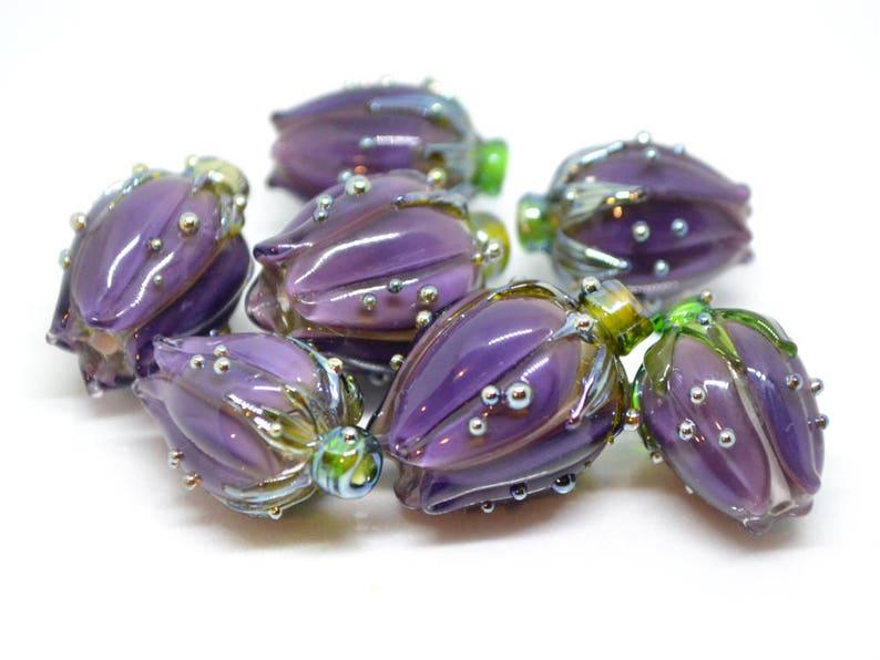 3 Spacer Perlen lila Glasperlen 13mm zum Basteln 989