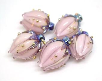Pastel pink and silver flower glass beads, Floral lampwork, Pale pink beads, Artisan lampwork, Light pink beads, Handmade glass flower bud