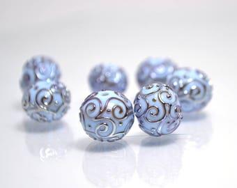 Handmade bead Artisan lampwork Set lampwork Sra beads Glass Wedding jewelry making Silver Round beads Sky blue Curles earring set pendant