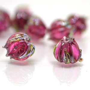 10-12mm Floral Polymer Clay Beads Jewelry 0,4-0,48 10 pcs Pearl  Translucent Pink Inside Flowers Beads Floral Beads Supplies