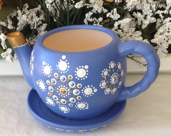 Wedgewood Blue, Hand Painted Teapot / Planter / Candle Holder, Original Mandala Design, Blue Planter, For Decoration Only.