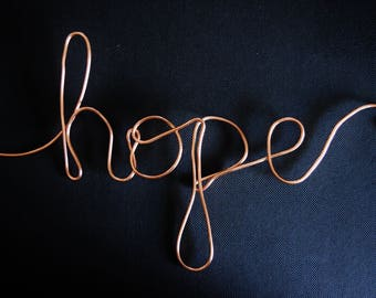 Hope, Wire Art, Wall Art, Wire Word Art, Wire Words, Word Art, Wire, Wall Art, Words, Wire Wall Wart, Custom Wire Word, Wire Word Decor, Art