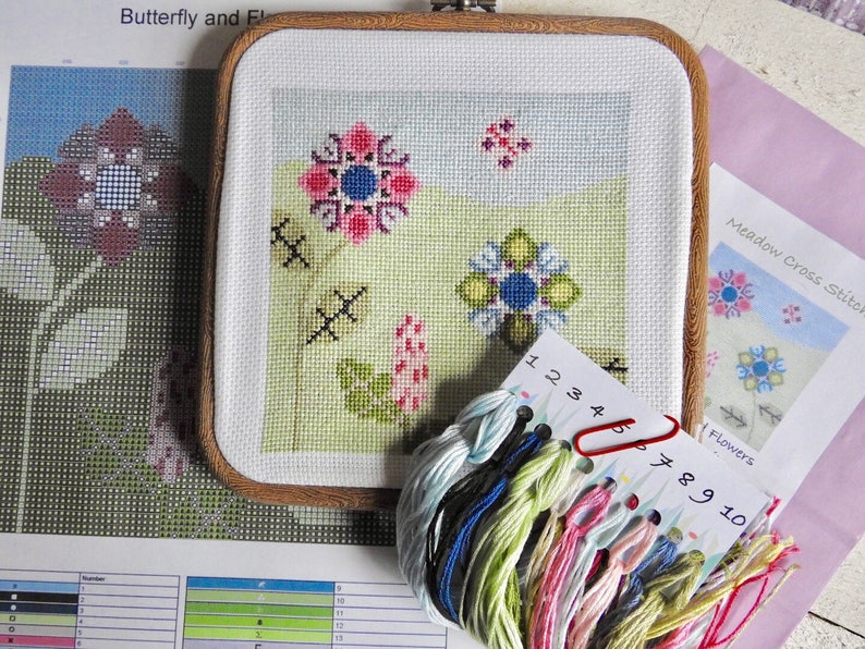 Embroidery Kit Cross Stitch Pattern Unique Gift Needle Point Kit Cross Stitch Kit Craft Kit Butterfly and Flowers Modern Cross Stitch