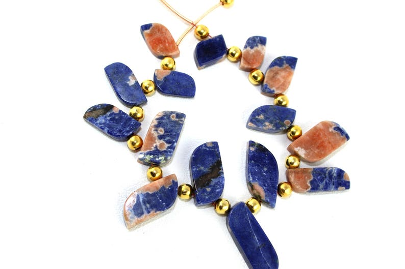 Natural Sodalite Flat S Shape Beads Sodalite Stone Blue Color Natural Stone Smooth Stone Fancy Necklace Stone Sodalite Stone Blue Sodalite