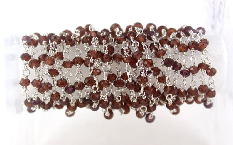 92.5 Sterling Silver Rosary Chain Natural Purple Amethyst Rondelle Faceted Beads
