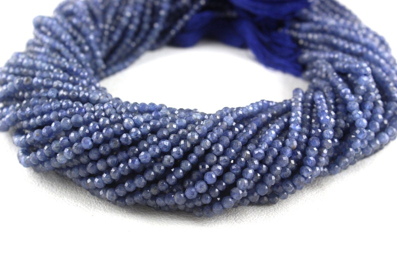 Gorgeous Genuine Natural Blue Sapphire shaded micro faceted rondelles beads size 3-3.5mm full strand 16 100/% natural