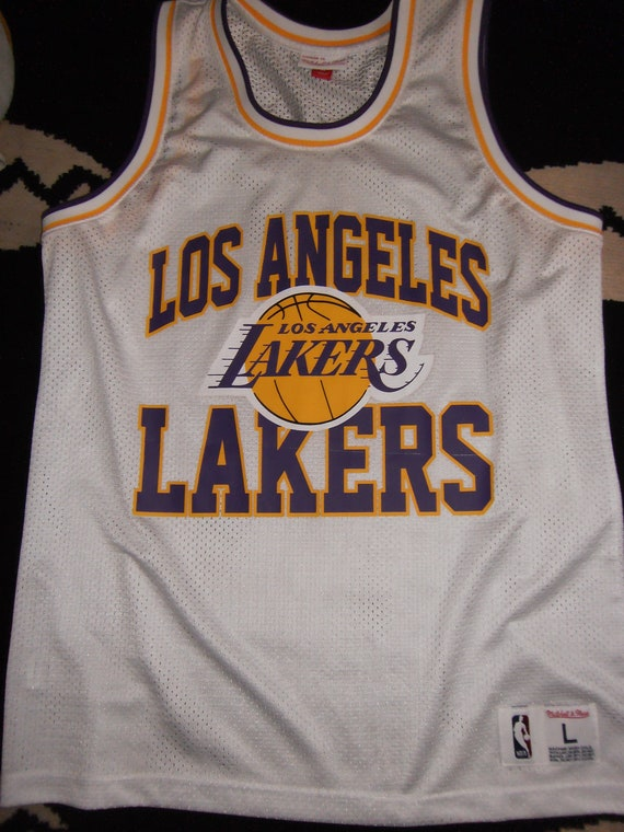 low priced cb001 6b331 rare retro la lakers basketball polyester mesh shirt by mitchell and ness