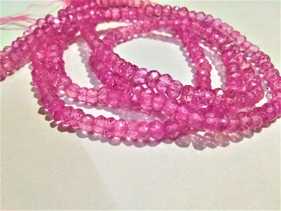 Natural Pink Topaz Stone Faceted Beads Strand Pink Topaz Rondelle Jewelry Making Gemstone Beads 3-4mm Wholesale Topaz Gemstone Beads