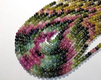 ON SALE - AAA Natural Multi Tourmaline 4 to 4.5mm Plain round Beads, Multi tourmaline loose beads strand, GemStone Necklaces Jewellery.