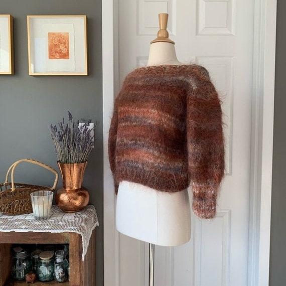 Vintage mohair balloon sleeve crop sweater
