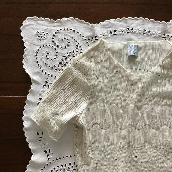 Vintage 90's ecru crochet mesh tee