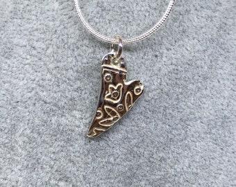 Handmade fine silver asymetrical heart pendant