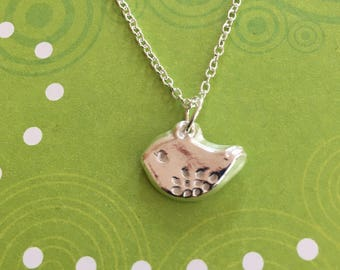 Fine silver,handmade, little robin pendant