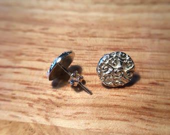 Beautiful handmade fine silver stud earrings