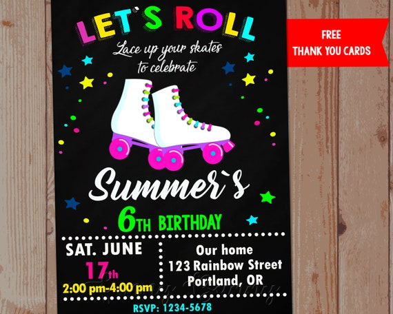 Roller Skate Invite Invitation Party