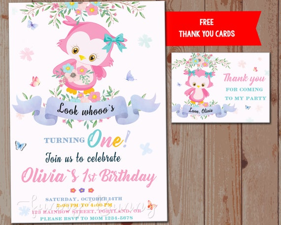 Owl Birthday Invitation First