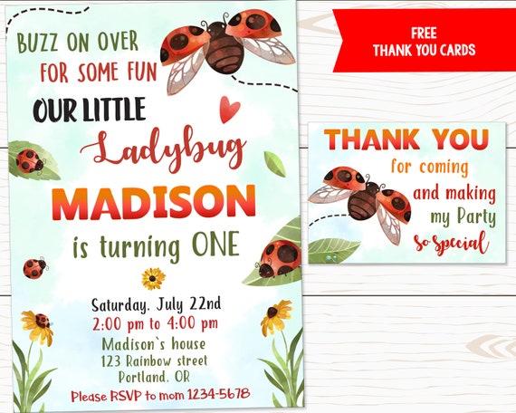 Invitación de cumpleaños de la mariquita para la chica Ladybug invitación Bugs 1er cumpleaños Ladybug invitar amor error invitación Lady bug party invitar a invitar