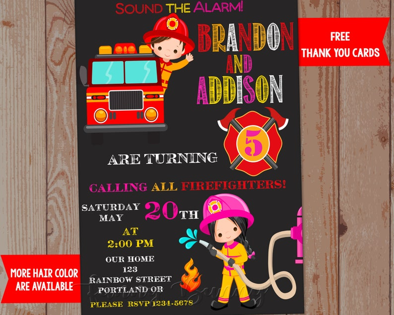 Firefighter Birthday Invitation Free Thank You Cards Etsy
